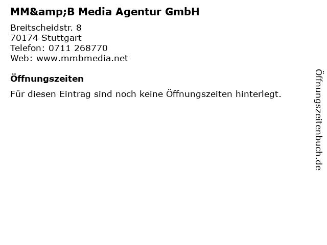 MM&B Media Agentur GmbH in Stuttgart: Adresse und Öffnungszeiten