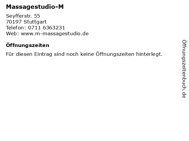 """ᐅ Öffnungszeiten """"Massagestudio-M   Seyfferstr. 55 in"""