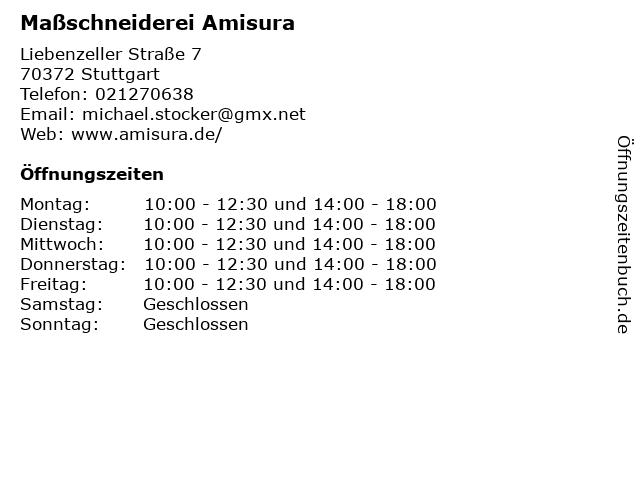 Maßschneiderei Amisura in Stuttgart: Adresse und Öffnungszeiten