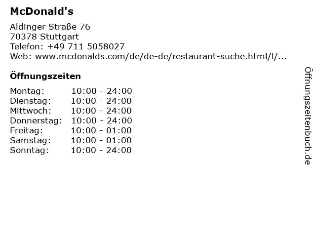 McDonald's in Stuttgart: Adresse und Öffnungszeiten