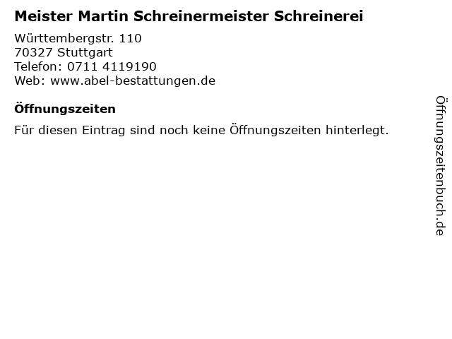 Meister Martin Schreinermeister Schreinerei in Stuttgart: Adresse und Öffnungszeiten