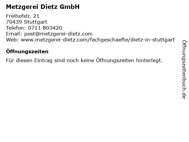 Metzgerei Dietz GmbH in Stuttgart: Adresse und Öffnungszeiten
