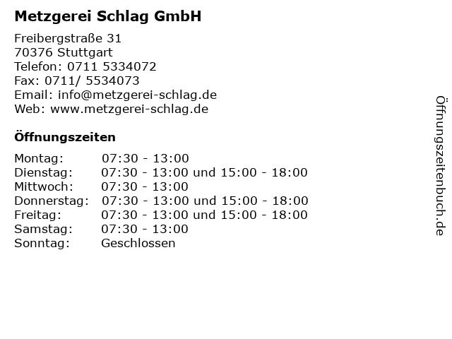 Metzgerei Schlag GmbH in Stuttgart: Adresse und Öffnungszeiten