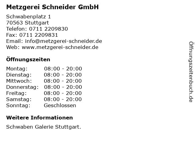 Metzgerei Schneider GmbH in Stuttgart: Adresse und Öffnungszeiten