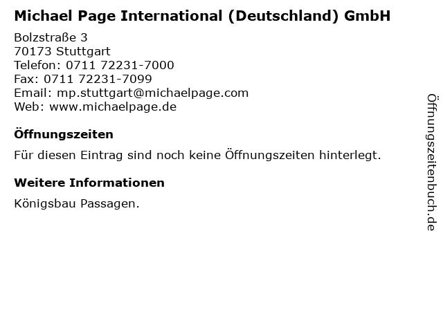 Michael Page International (Deutschland) GmbH in Stuttgart: Adresse und Öffnungszeiten