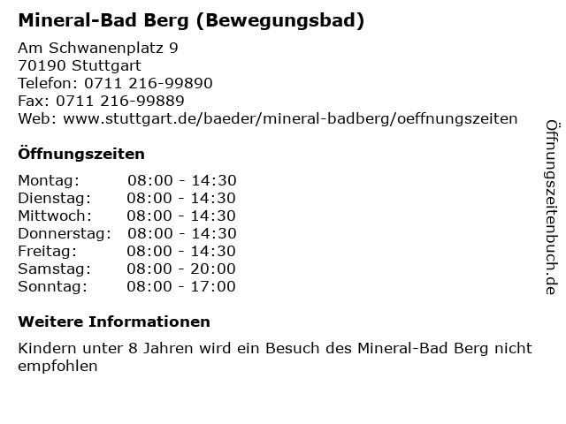 Mineral-Bad Berg (Bewegungsbad) in Stuttgart: Adresse und Öffnungszeiten