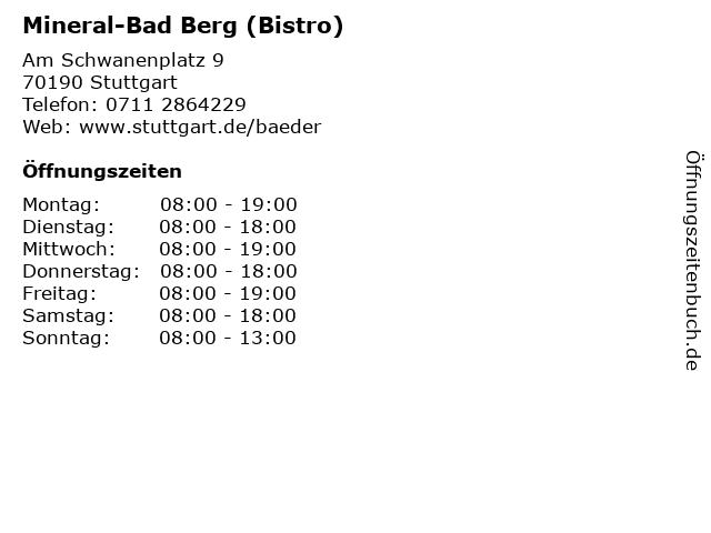 Mineral-Bad Berg (Bistro) in Stuttgart: Adresse und Öffnungszeiten