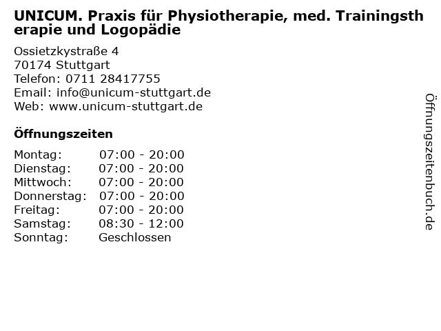 UNICUM. Praxis für Physiotherapie & Med. Trainingstherapie GbR in Stuttgart: Adresse und Öffnungszeiten