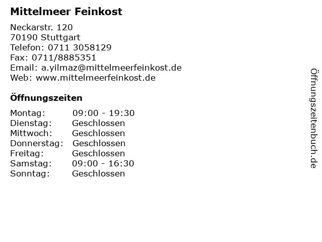 Mittelmeer Feinkost in Stuttgart: Adresse und Öffnungszeiten