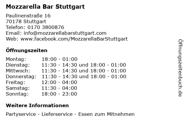 Mozzarella Bar Stuttgart in Stuttgart: Adresse und Öffnungszeiten