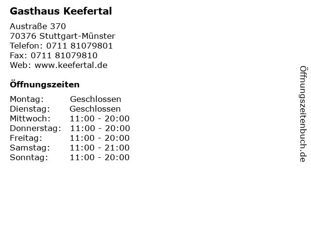 Gasthaus Keefertal in Stuttgart-Münster: Adresse und Öffnungszeiten