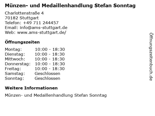 ᐅ öffnungszeiten Münzen Und Medaillenhandlung Stefan Sonntag