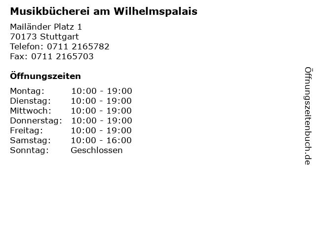 Musikbücherei am Wilhelmspalais in Stuttgart: Adresse und Öffnungszeiten