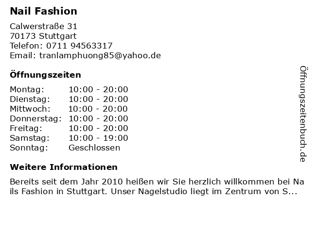 Nail Fashion in Stuttgart: Adresse und Öffnungszeiten