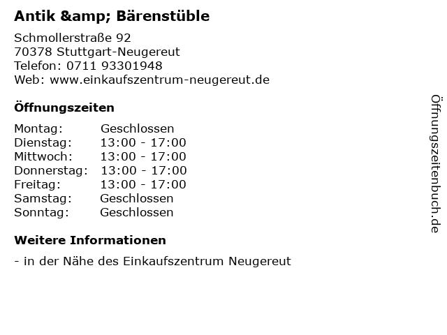 Antik & Bärenstüble in Stuttgart-Neugereut: Adresse und Öffnungszeiten