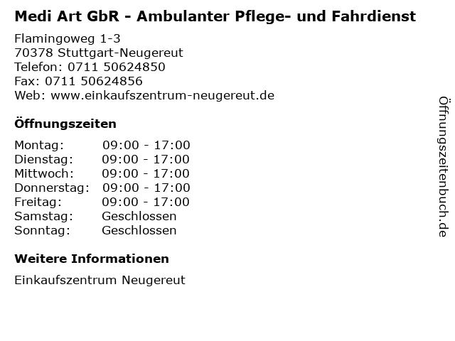 Medi Art GbR - Ambulanter Pflege- und Fahrdienst in Stuttgart-Neugereut: Adresse und Öffnungszeiten