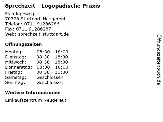 Sprechzeit - Logopädische Praxis in Stuttgart-Neugereut: Adresse und Öffnungszeiten