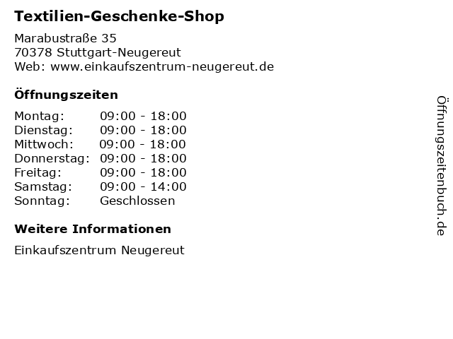 Textilien-Geschenke-Shop in Stuttgart-Neugereut: Adresse und Öffnungszeiten