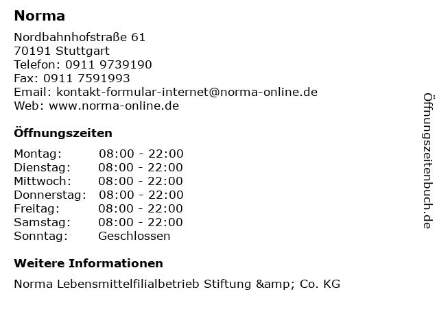 Norma in Stuttgart: Adresse und Öffnungszeiten
