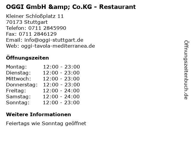 OGGI GmbH & Co.KG - Restaurant in Stuttgart: Adresse und Öffnungszeiten