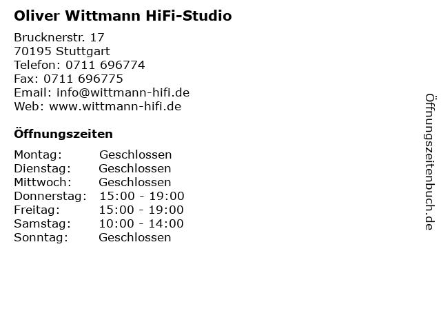 Oliver Wittmann HiFi-Studio in Stuttgart: Adresse und Öffnungszeiten