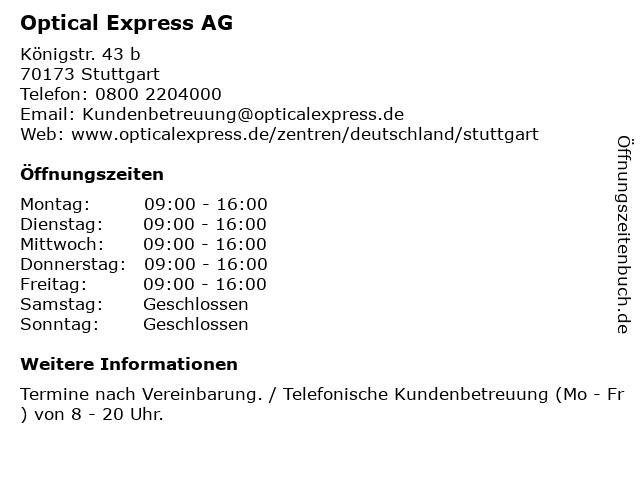 Optical Express AG in Stuttgart: Adresse und Öffnungszeiten