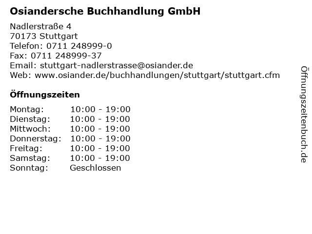 Osiandersche Buchhandlung GmbH in Stuttgart: Adresse und Öffnungszeiten
