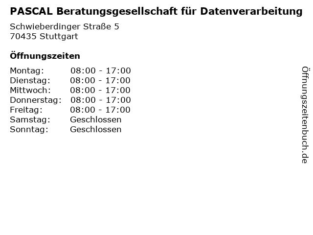 PASCAL Beratungsgesellschaft für Datenverarbeitung in Stuttgart: Adresse und Öffnungszeiten