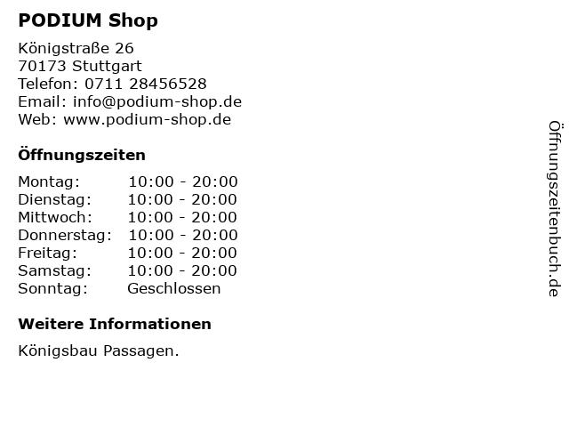 PODIUM Shop in Stuttgart: Adresse und Öffnungszeiten