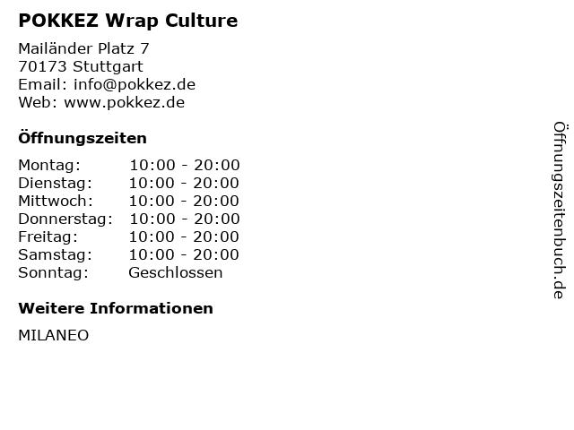 POKKEZ Wrap Culture in Stuttgart: Adresse und Öffnungszeiten