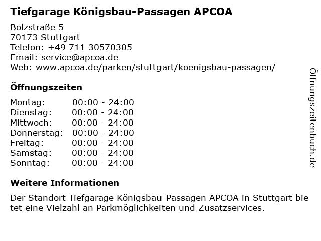 Parkhaus Königsbau-Passagen in Stuttgart: Adresse und Öffnungszeiten