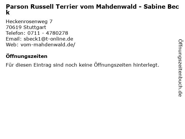 Parson Russell Terrier vom Mahdenwald - Sabine Beck in Stuttgart: Adresse und Öffnungszeiten