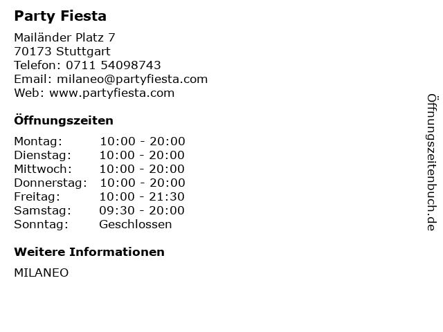 Party Fiesta in Stuttgart: Adresse und Öffnungszeiten