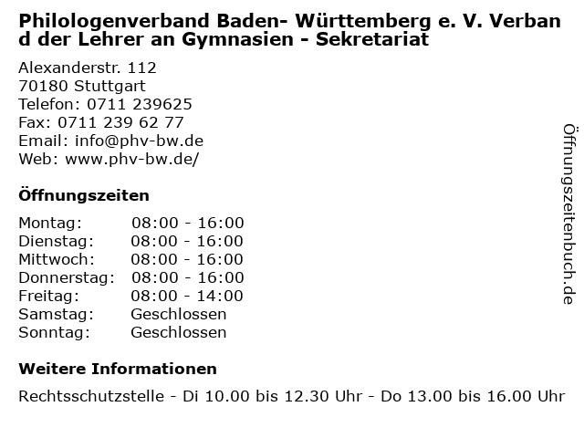Philologenverband Baden- Württemberg e. V. Verband der Lehrer an Gymnasien - Sekretariat in Stuttgart: Adresse und Öffnungszeiten