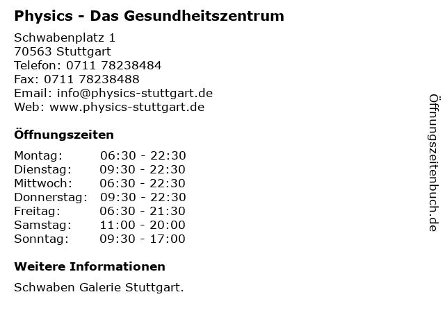 Physics - Das Gesundheitszentrum in Stuttgart: Adresse und Öffnungszeiten