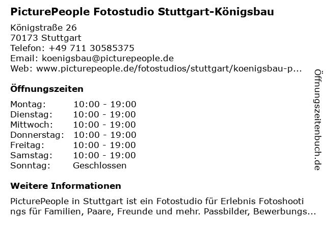 PicturePeople Fotostudio Stuttgart-Königsbau in Stuttgart: Adresse und Öffnungszeiten