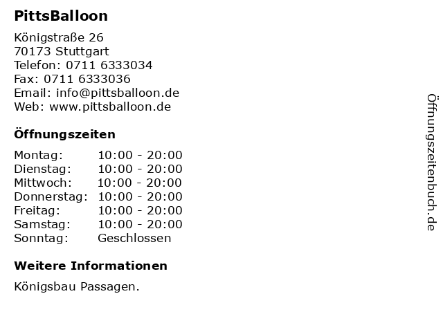 PittsBalloon in Stuttgart: Adresse und Öffnungszeiten