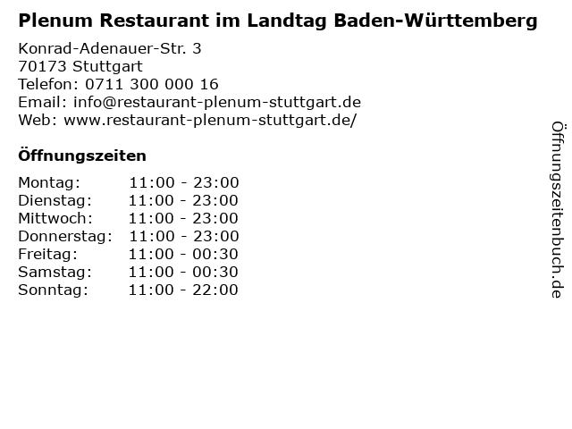 Plenum Restaurant im Landtag Baden-Württemberg in Stuttgart: Adresse und Öffnungszeiten