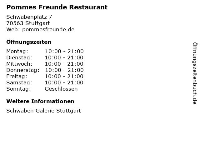 Pommes Freunde in Stuttgart: Adresse und Öffnungszeiten
