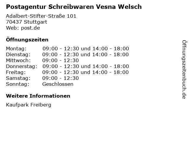 Postagentur Schreibwaren Vesna Welsch in Stuttgart: Adresse und Öffnungszeiten