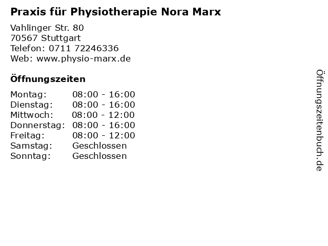 Praxis für Physiotherapie Nora Marx in Stuttgart: Adresse und Öffnungszeiten