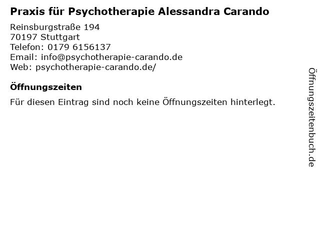 Praxis für Psychotherapie Alessandra Carando in Stuttgart: Adresse und Öffnungszeiten
