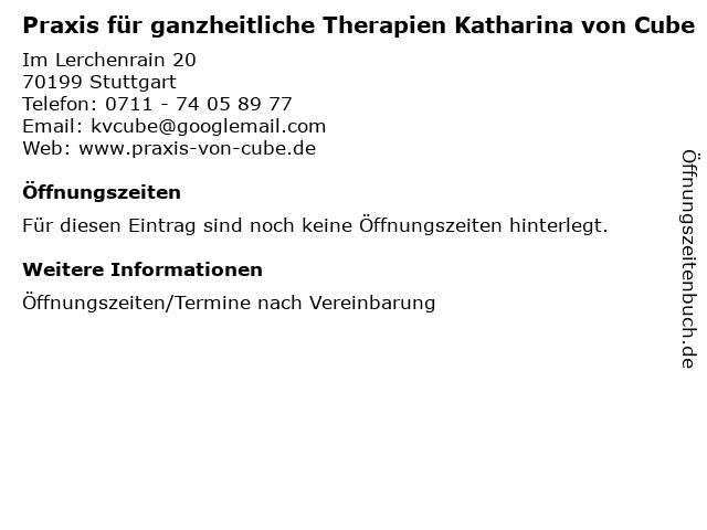 Praxis für ganzheitliche Therapien Katharina von Cube in Stuttgart: Adresse und Öffnungszeiten