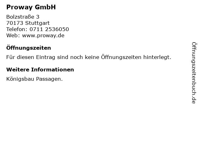 Proway GmbH in Stuttgart: Adresse und Öffnungszeiten