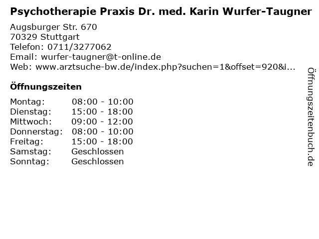 Psychotherapie Praxis Dr. med. Karin Wurfer-Taugner in Stuttgart: Adresse und Öffnungszeiten