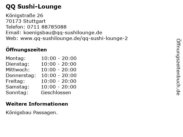 QQ Sushi Lounge in Stuttgart: Adresse und Öffnungszeiten
