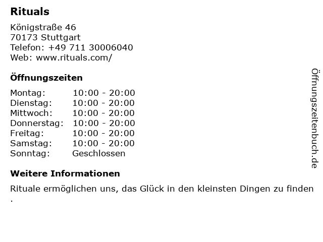 RITUALS Cosmetics Germany GmbH in Stuttgart: Adresse und Öffnungszeiten