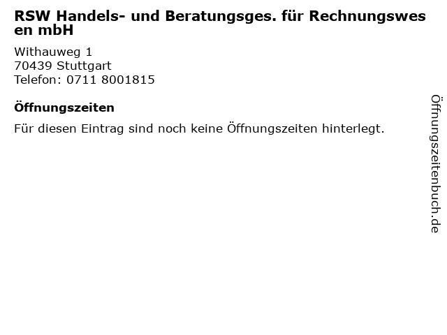 RSW Handels- und Beratungsges. für Rechnungswesen mbH in Stuttgart: Adresse und Öffnungszeiten