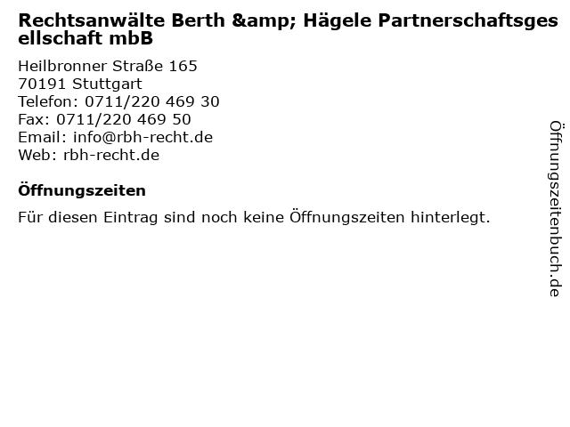 Rechtsanwälte Berth & Hägele Partnerschaftsgesellschaft mbB in Stuttgart: Adresse und Öffnungszeiten