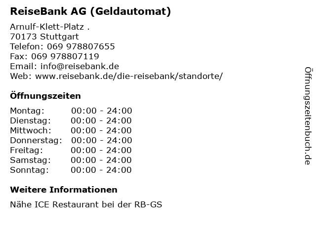 ReiseBank AG (Geldautomat) in Stuttgart: Adresse und Öffnungszeiten
